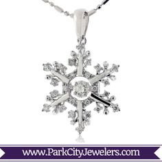 Dancing Diamond Snowflake Necklace Dancing Center Diamond Snowflake Pendant and Chain Or Rose, Rose Gold, Snowflake Jewelry, Types Of Metal, Round Diamonds, Snowflakes, Dancing, White Gold