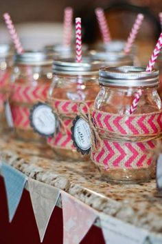 mason jar glasses with chevron ribbon, name tags, and straws Mason Jar Glasses, Mason Jars, Craft Projects, Projects To Try, Cowgirl Party, Green Theme, Mason Jar Crafts, Creative Gifts, Event Decor