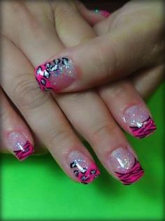 Hot pink acrylics, animal tastic ;) by Me ;)