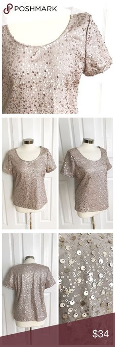 Ellen Tracy Sequin Blush Short Sleeve Top Beautiful short sleeve shirt with sequins. Color is a beige/blush color - close to dusty rose or even rose gold! Ellen Tracy size large. 70% polyester 30% rayon. Great on it's own or under a blazer! Ellen Tracy Tops