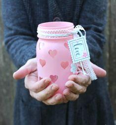 DIY Valentine's day mason jar luminaries - upcycling craft // Valentin napi szívecskés mécsestartó befőttesüvegből egyszerűen // Mindy - craft tutorial collection // #crafts #DIY #craftTutorial #tutorial