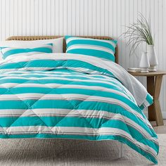 We've given our St. Tropez® comforter a fresh update with bold stripes.  | The Company Store