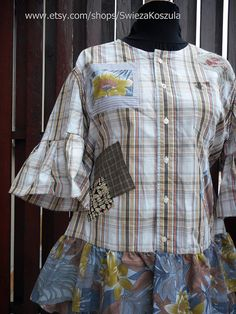 2X Shirt Recycled Fabric Dress Boho Bohemian Patchwork Shirt