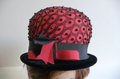 Vintage Hat Red and Black Beaded Felt Pillbox by MySeriousSide, $24.00