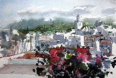 Pedro Orozco Tristán Watercolor Landscape, Watercolor And Ink, Watercolors, Landscapes, Artists, City, Painting, World, Watercolor Artists