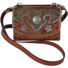 American West Desert Wildflower Small Crossbody Bag ($135) ❤ liked on Polyvore featuring bags, handbags, shoulder bags, purses, accessories, bolsas, brown crossbody, western purses, brown purse and crossbody purse