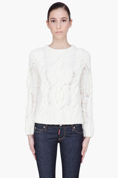 Rag And Bone Ivory Wool Cable Knit Sweater