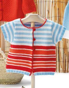 Revista bebé 68 Primavera / Verano | 41: Bebé Chaqueta | Azul celeste / Blanco / Coral / Rojo
