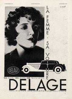 Delage (Cars) 1930 A. Magi -- Vintage advert Cars | Hprints.com