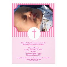 Pink Stripe Baptism Baby Dedication 5x7 photo Custom Invitations by #allpetscherished
