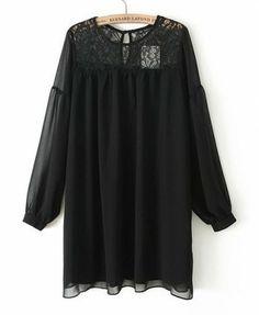Lace Splicing Hubble-bubble Sleeves Chiffon Dress - Clothing