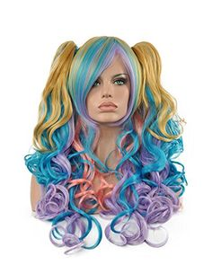 Diy-Wig High Quality Multi-Color Long Curly Two Clips Pon…