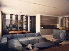 The interior of the apartment of 150m in Grand Park residential complex, Архитектурное бюро Александры Федоровой