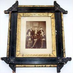 Antique Victorian Eastlake Ebonized Gilt Aesthetic Movement Picture Frame 19th Century