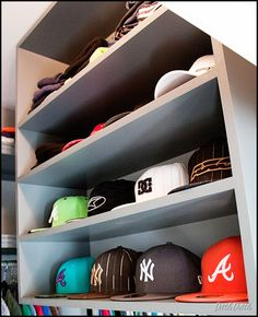 MDF Shelving Unit For Hat Display In Closet