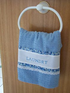 Pretty Laundry towel, blue and white.