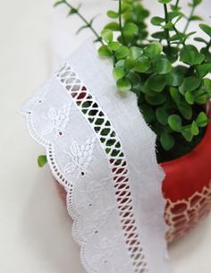 cotton eyelet lace 1yard width 54cm white 365011 by cottonholic, $3.20