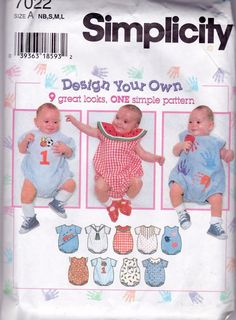 Vintage Simplicity Sewing Pattern Baby Infant Romper Design Your Own 7022 UNCUT #Simplicity
