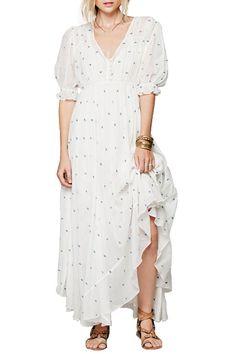 Tiny Blue Embellished Half Sleeve Dress WHITE: Maxi Dresses | ZAFUL
