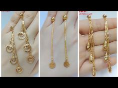 Latest Gold Drop Earrings Designs with Weight Fun Clip Videos : 1 Gram Gold Bridal Jewellery Set with Price and Whatsapp Number Gold Bridal Jewellery Sets, Silver Jewellery Indian, Gold Jewellery Design, Gold Jewelry, Silver Jhumkas, Gold Ring Designs, Gold Earrings Designs, Hanging Earrings, Gold Drop Earrings