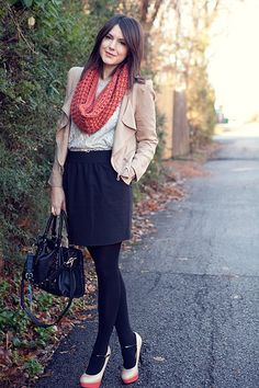 Shoes. Skirt. Scarf.