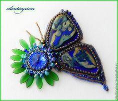 """Купить Брошь """"Бабочка танцующая с цветком"""" - брошь, бабочка, бабочки, брошь бабочка, синий, голубой"""