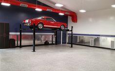 4 post lift plus tread plate walls Garage Car Lift, Garage Shop, Dream Garage, Pole Barn Shop, Pole Barns, 4 Post Lift, Garage Workshop, Metal Buildings, Garage Ideas
