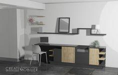 Un projet, deux propositions : Un meuble de salle-à -manger intégrant un espace de bureau ! http://www.creativ-mobilier.fr/actualites.html #bureau #architecture #séjour #salle-à-manger #buffet