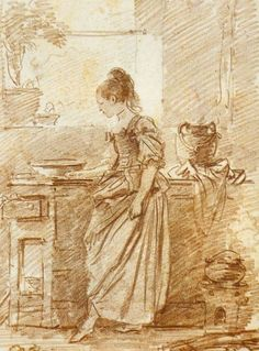 """1775 (Compare to the other sketch by Fragonard where there is no front seam) , """"The Party Cook"""" by Fragonard"""