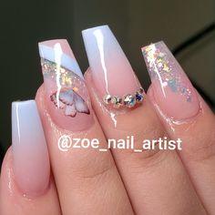 Cute Acrylic Nail Designs, Ombre Nail Designs, Nail Art Designs, Gold Acrylic Nails, Gold Glitter Nails, Glow Nails, Sweater Nails, Diamond Nails, Nagel Gel