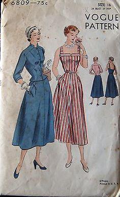Vintage Original Vogue 40's Unprinted Dress Pattern No. 6809