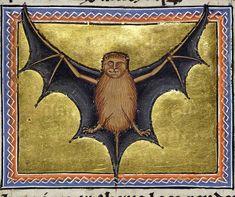 Aberdeen Bestiary, bat, ca. 1200