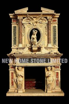 Fantastic Pic beige Marble Fireplace Popular Natural-stone fireplaces won't ever go out of style, particularly those that feature elaborate sur Antique Fireplace Mantels, Tall Fireplace, Fireplace Design, Modern Fireplace, Marble Fireplace Surround, Marble Fireplaces, Fireplace Surrounds, Double Fireplace, Foyers