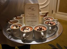 Hot Chocolate %26 Apple Cider in Mugs    Photography: Jay Lawrence Goldman Photography   Read More:  http://www.insideweddings.com/weddings/fairy-tale-winter-wedding-with-white-gold-decor-in-beverly-hills/735/