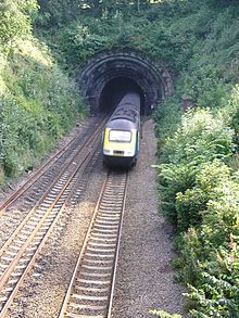 North portal of Milford railway tunnel, England.