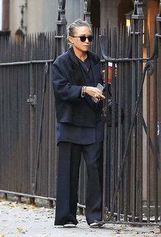 Mary-Kate Olsen Out And About In A Navy And Black Satin Look (Olsens Anonymous)