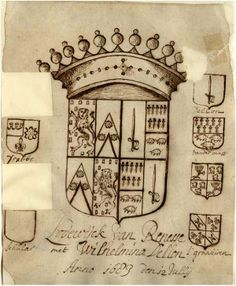 Alliantiewapen van Lodewijck van Renesse en Wilhelmina Dellon, met links de wapens van Renesse ( weggeknipt). Drabbe, Pinelle (weggeknipt) en Schular ( niet ingetekend) en recht de wapens Dellon, van der Mast en 's Graauwen. 12/7/1683