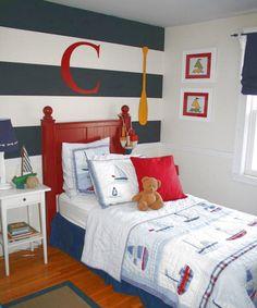 Sam room: Navy and white stripe, orange instead of red