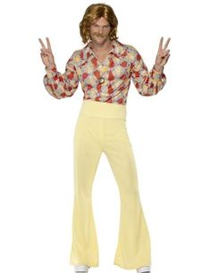 1960'S GROOVY GUY COSTUME - A fantastic fancy dress costume for any 1960's themed party. We love the flares and floral shirt. Would dare to wear this?