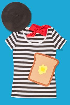 this last minute halloween costume idea for french toast just requires a black beret striped shirt red scarf and a piece of cardboard turned into a piece