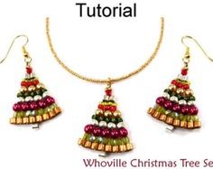 Beading Patterns - Beaded Christmas Tree Earrings and Necklace - Brick Stitch - Simple Bead Patterns - Whoville Christmas Tree Set #10430