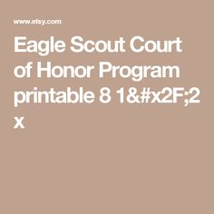 Eagle Scout Court of Honor Program printable 8 x Eagle Scout Ceremony, Scouting, Boy Scouts, Printable, Etsy, Ideas, Boy Scouting, Thoughts, Scouts