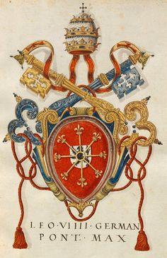«Insignia pontificum Romanorum et cardinalium I. Insignia a Felice III. ad Paulum IV', [S.l.] Italien, Mitte 16. Jh. [BSB Cod.icon. 266] -- f° 7r: Papst Leo IX. Wappen [Coat-of-arms of Pope Leon VIIII family, Bruno of Eguisheim-Dagsburg, German, 1002-1054] -- There were not coat of arms then. -- In tutti i manoscritti Fugger (Cod.icon. 266÷279) molti cognomi sono scritti in maniera sbagliata [MG]