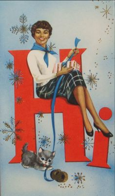 Christmas card from the 1950s, from a box labeled Ebony Classics Imperial Collection,  made by Colortone Originals Inc., Mount Vernon, New York.