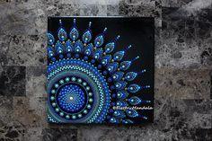 10 x 10 azul Original punto Mandala arte acrílico pintura