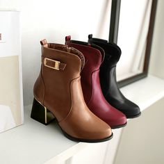 47.15$  Buy now - http://ali5md.shopchina.info/go.php?t=32681106526 - Nice Spring And Autumn Women Boots Shoes Women Thick Heel High Heels Shoes Fashion ankle-length Martin Boots Ankle Boots 47.15$ #aliexpress