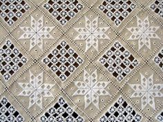 [Which looks astonishingly like Hardanger lace. Embroidery Designs, Types Of Embroidery, Learn Embroidery, White Embroidery, Hand Embroidery, Greek Crafts, Craft Museum, Cross Stitch Pillow, Drawn Thread