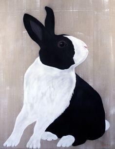 LAPIN PIE lapin-lapin-pie-lièvre-hase Peinture animalière Thierry Bisch artiste…
