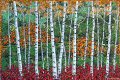 Cathy Geier's Quilty Art Blog: Autumn Birches for RJR featuring Danscapes by Dan Morris