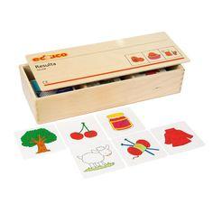 --- resulta --- 522428 Bij Resulta gaat het om de juiste volgorde van oorsprong naar tussenproduct naar eindresultaat (bijvoorbeeld schaap, wol, trui). Inhoud: 16 thema's van elk 3 kaarten. Formaat kist: 33 x 12 x 5 cm (l x b x h). Container, Toys, School, Stuff To Buy, Activity Toys, Clearance Toys, Gaming, Games, Toy